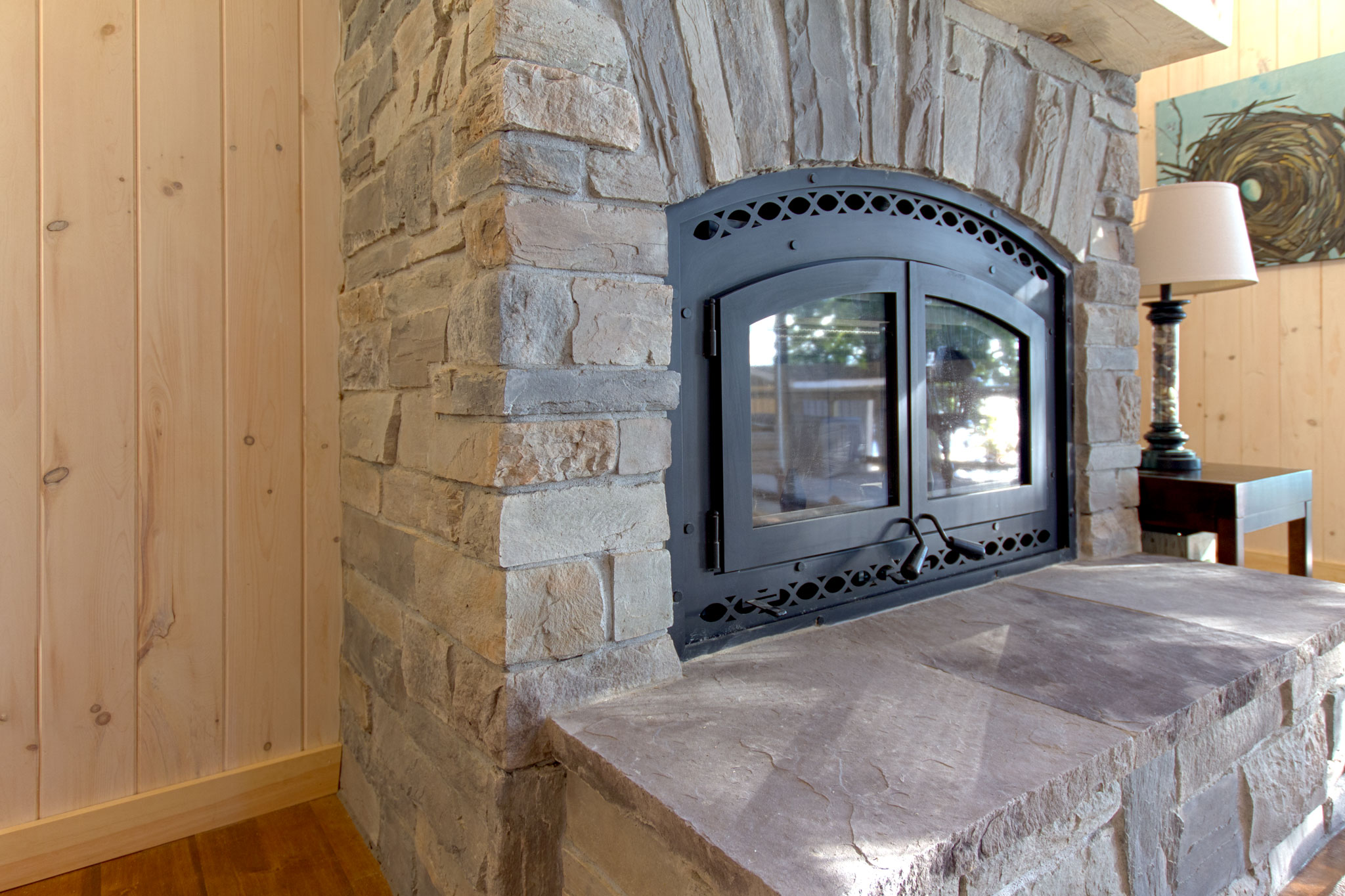 Pure Rock Landscaping Indoor Stone Fireplace With 25ft Tall Chimney